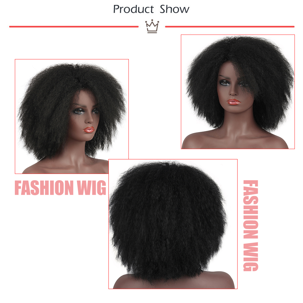 Image 5 - Pageup Afro Black Synthetic Short Wig Woman Red False Hair Cosplay Fluffy Short Hair Wig Curly Womens Wigs Sale For Black WomenSynthetic None-Lace  Wigs   -