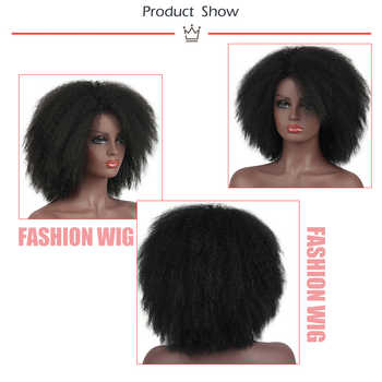 Pageup Afro Black Synthetic Short Wig Woman Red False Hair Cosplay Fluffy Short Hair Wig Curly Women\'s Wigs Sale For Black Women