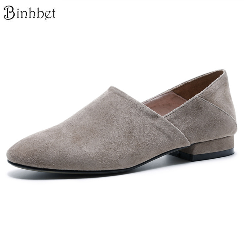 Binhbet Women Flat Shoes Real Suede Leather Loafer Shoes Woman Spring Autumn Casual Footwear Slip on Women Flats Black Gray spring autumn women loafer pointed toe pearl comfortable women flats shoes slip on fashion pu leather women s flat with shoes