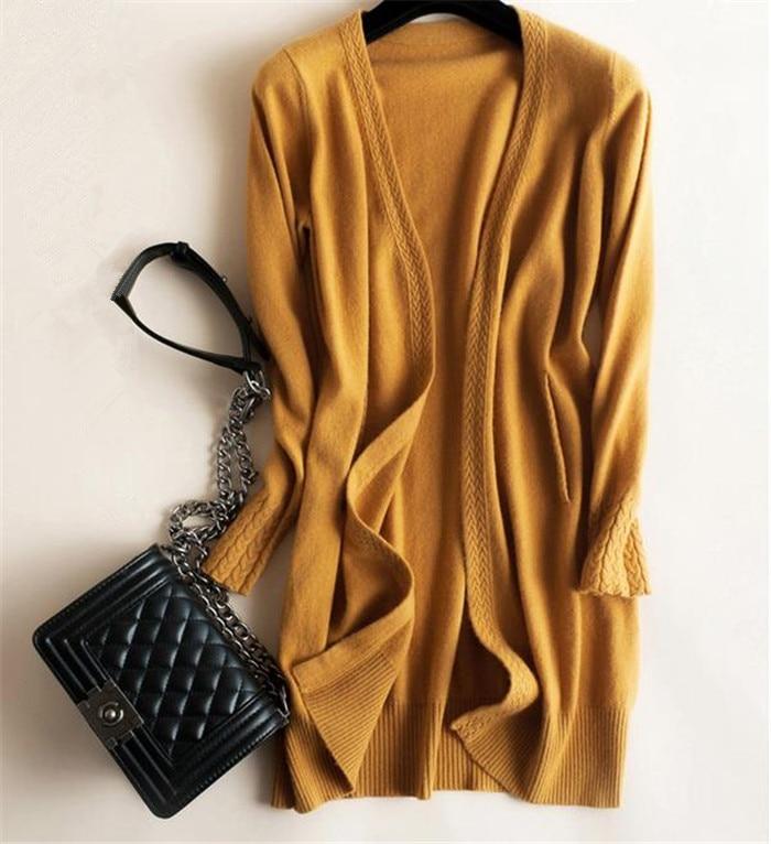 100% chèvre cachemire ajouter épaisse jacquard en tricot mode femme longue manteau de chandail de cardigan couleur uni S-2XL