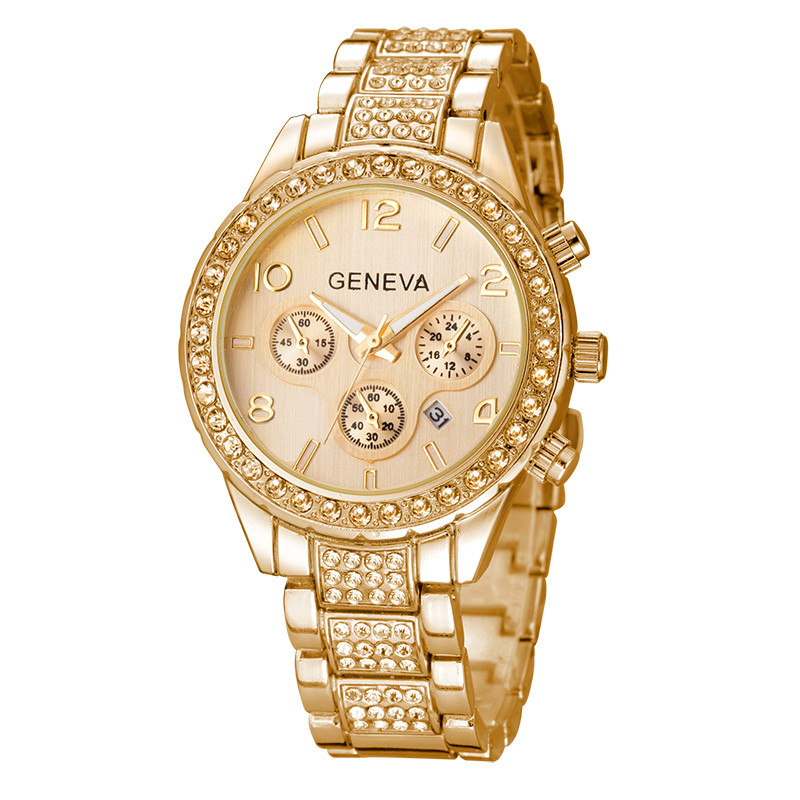2016 New Luxury brand watches Geneva Women Gold watches with Diamond case 3colors alloy Rhinestone watchbands