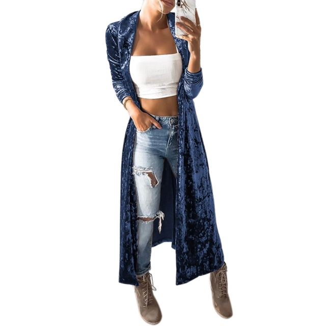 New Autumn Velvet Coat Women Ashion Open Front Long Sleeve Lapel Neck Slim Windbreaker Party Maxi Long Jacket Cardigan