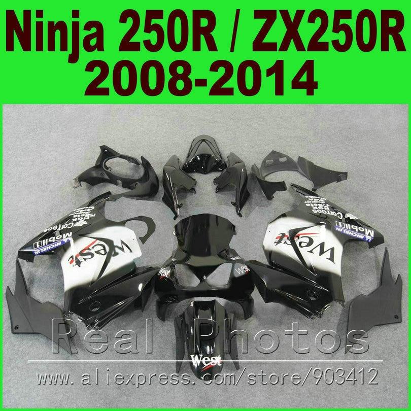 Black white WEST Kawasaki Ninja 250r Fairings bod kit 2008 - 2014 EX250 2009 2010 2011 2012 ZX 250 fairing kits parts R4Y7
