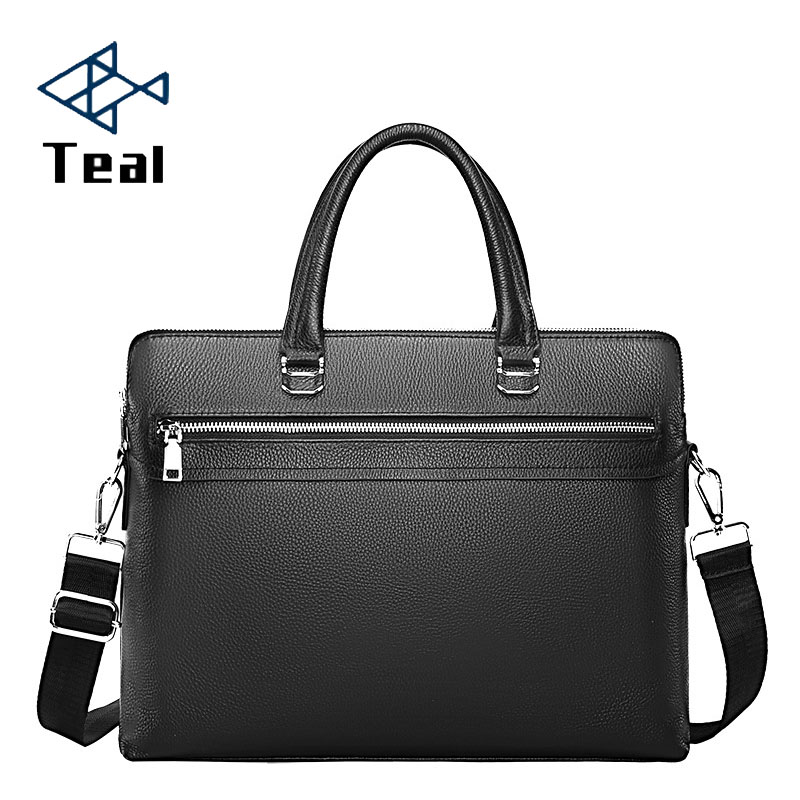 Genuine Leather Men's Briefcase Zipper Business Shoulder Bag Top Leather Double-layer Business Laptop Bag