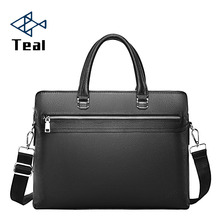 Genuine Leather Mens Briefcase Zipper Business Shoulder Bag Top double-layer Laptop bag
