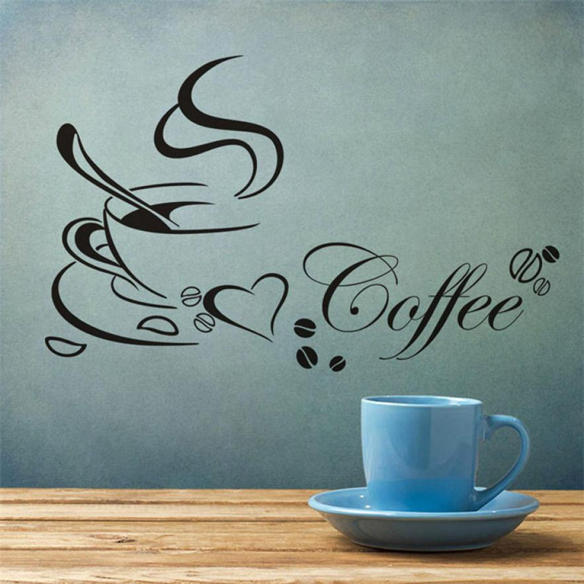 2017 HOT High Quality 2016 Removable Kitchen Decor Coffee Cup Home Decals Vinyl Art Wall Sticker 1.27 wh