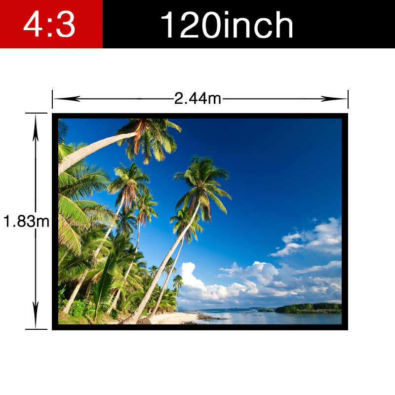 Best PVC Soft 120inch 4:3 Home Theater Matt white Projector Projection Video Movie Screen with holes Portable folding Wall fast free shipping 100 4 3 tripod portable projection screen hd floor stand bracket projector screen matt white factory supply