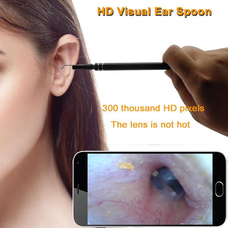 Limpeza Da Orelha Endoscópio ENT 2 in1 Colher de Ouvido 5.5mm Mini Câmera USB HD Visuais Pick Orelha Nasal Endoscópio Dental otoscópio Câmera