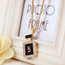 Novas garrafas de perfume pingente colares moda colar longo para presente de aniversário jóias por atacado