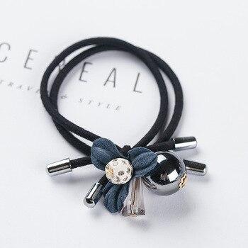 1PCS Lovely Clover Gray Ball Elastic Hair Bands Toys For Girls Handmade Bow Headband Scrunchy Kids Hair Accessories For Womens