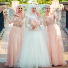 2017 Muslim Long Chiffon Bridesmaid Dress Scoop Long Sleeve Lace Sashes Beads A Line Floor-Length Robe Demoiselle Honneur
