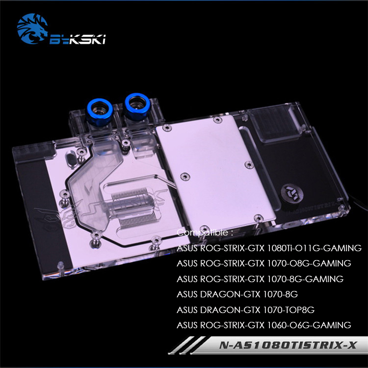 Bykski GPU Water Cooling Block for ASUS ROG STRIX GTX 1080Ti 1070 O8G GAMING 3pin 4pin
