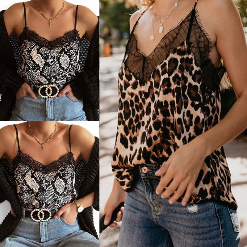 Womens V-hals Leopard Snake Print Hemdje Vest Lace Strappy Cami Tops