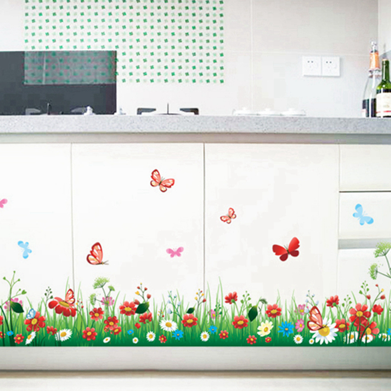Butterfly Flowers Stickers Wall Sticker Wall Art Home Decoration Accessories Bedroom Decor Wall Stickers Home Decor