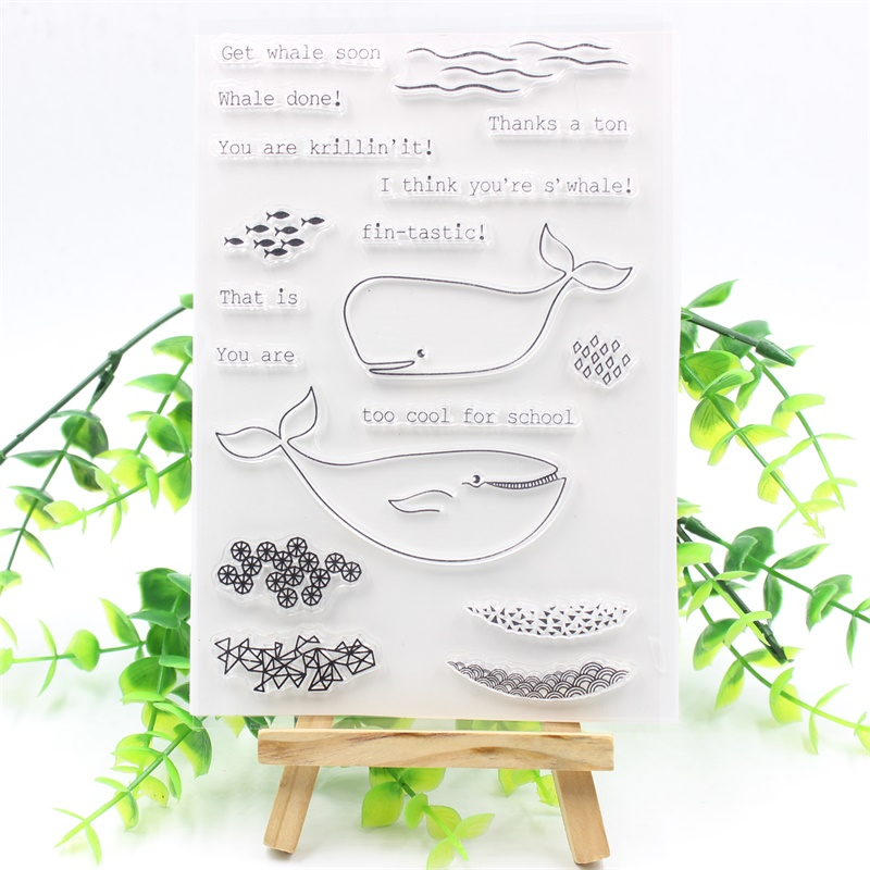 YPP CRAFT Whale Transparent Clear Silicone Stamps for DIY Scrapbooking/Card Making/Kids Fun Decoration Supplies kscraft butterfly and insects transparent clear silicone stamps for diy scrapbooking card making kids fun decoration supplies