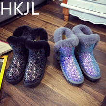 HKJL 2019 snow boots female fur thick winter wild student short tube plus velvet tube non-slip warm flat cotton shoes Z047 цены онлайн