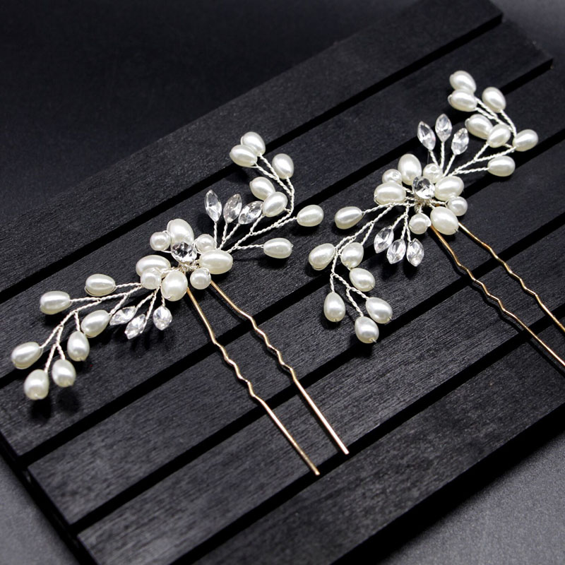 Crystal Pearl Flower Hair Pins Bridal Tiaras Headpiece Hairpin Hair Clip Stick Wedding Hair Jewelry Accessories For Bride Noiva broad paracord