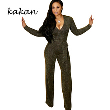 Kakan new high stretch jumpsuit nylon gold silk pit casual silver with belt