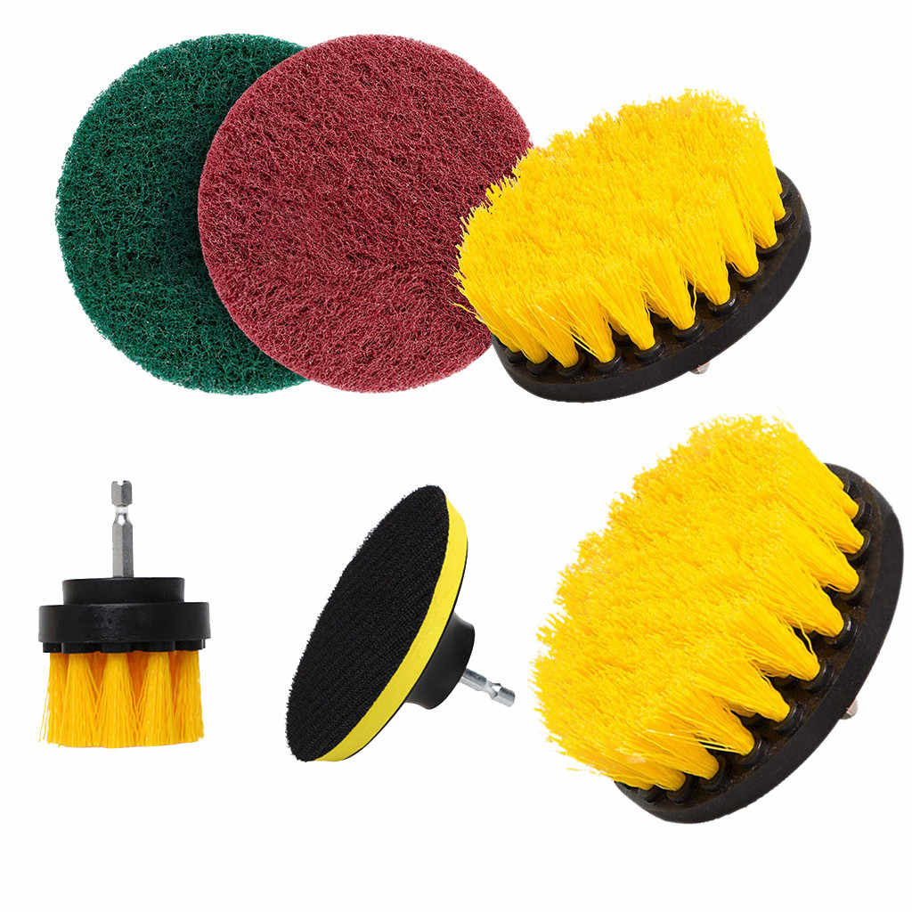 6Pcs/Set Electric Drill Brush Kit Plastic Round Cleaning Brush For Carpet Glass Car Tires Nylon Brushes Power Scrubber Drill