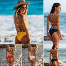 Купить с кэшбэком 2019 Summer Swimwear Women Sexy Bikini Push up Backless Slim Bandage Swimsuit Multicolor M136