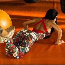 נשים ספורט סט יוגה סטי אנסמבל סקסי כושר ללבוש סרבל פרחוני פרח נשים אימונית ריצה בגדי כושר ספורט חליפה