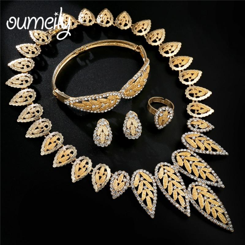 2019 Neuer Stil Oumeily Afrikanische Perlen Schmuck Set Imitation Kristall Mode Türkische Schmuck Blume Pflanze Ohrringe Kostüm Hochzeit Schmuck Set