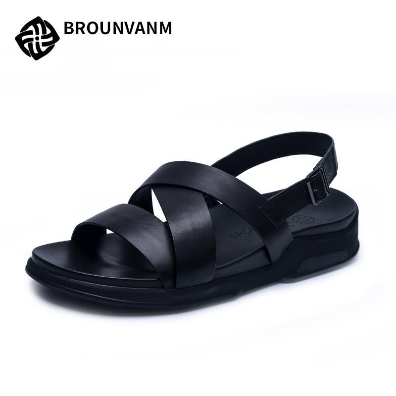 Mens sandals 2018 new summer sandals Sneakers Men Slippers Flip Flops Summer casual shoes beach outdoor all-match cowhide male