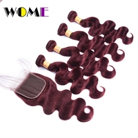 Wome 4 Bundles With Closure Body Wave 99J Red Wine Human Hair With 4x4 Free Part Lace Closure Chinese 4 Bundles With Closure