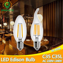 High Bright C35 Antique LED Edison Bulb E14 Vintage LED Bulb Lamp 220V Retro LED Filament Light Candle Light Lamp 4W 8W Bombilla(China)