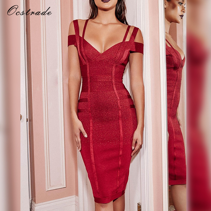Ocstrade Women Bodycon Dress 2017 Summer Sexy Bandage Off Shoulder Sexy High Quality Wine Red Bandage Dress Rayon