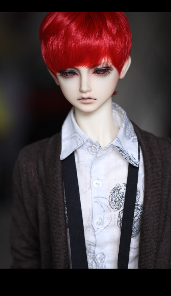 BJD Doll Wigs Chinese Red Natural Modelling Hair Wigs For 1/3 1/4 BJD DD SD MDD MSD Doll Short High-temperature Wire Wigs