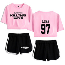 Korean KPOP BLACK PINK BLACKPINK KILL THIS LOVE Album Track Suit Women Sexy Crop Top