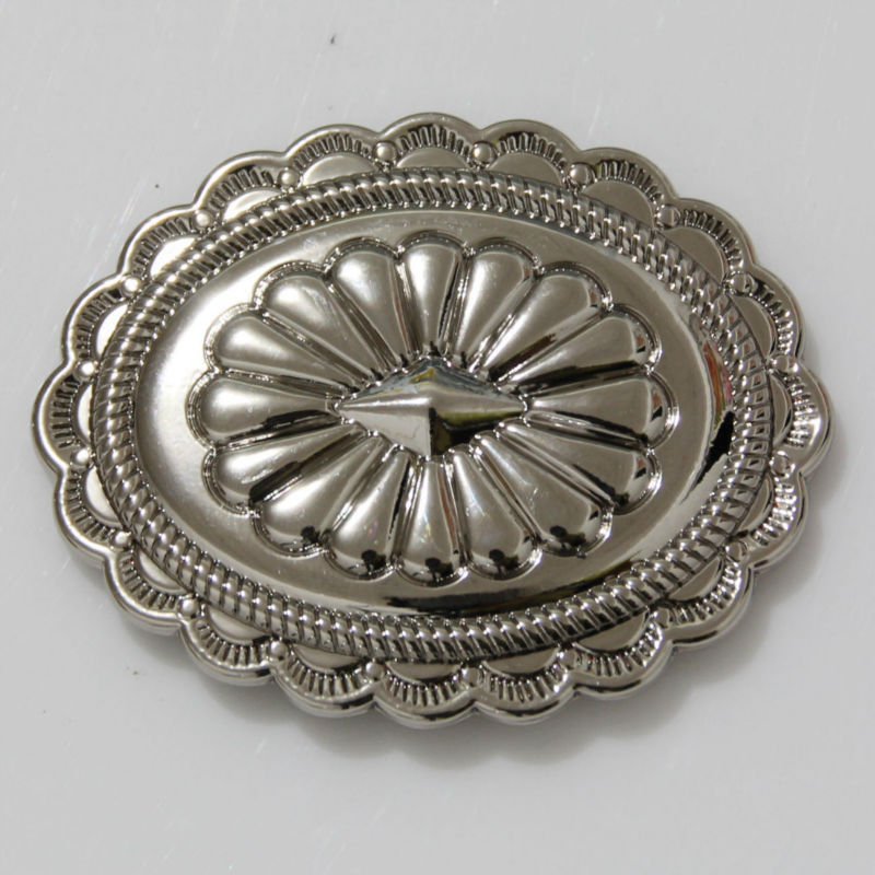 (KBO04) 10ks 1-7 / 8 '' Jihozápadní ovál Concho Sedlo Tack Belt Craft Concho Silver