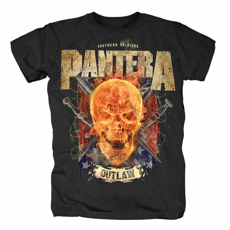 T Shirt Creator Crew Neck Men Pantera Outlaw Skull Official Short-Sleeve  Printed Tee