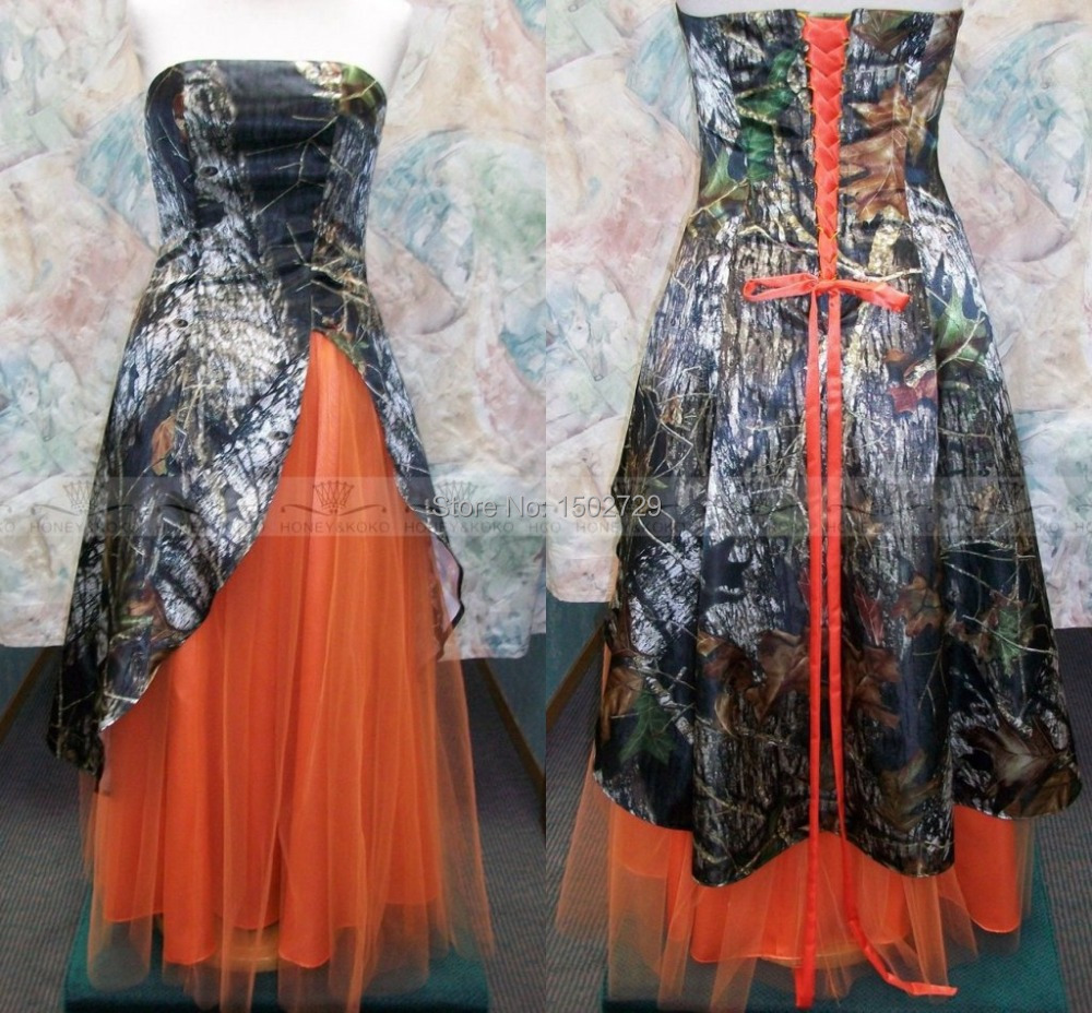 Custom made plus size camo wedding dress 2017 vestidos de novia a custom made plus size camo wedding dress 2017 vestidos de novia a line strapless orange tulle corset back bridal wedding gowns in wedding dresses from ombrellifo Image collections