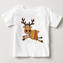 Lovely Christmas elk children T-shirt boys and girls cartoon small elk summer short sleeved cotton breathable clothing MJ