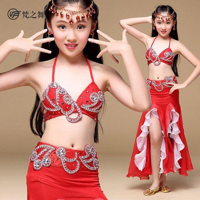 fcd73715722da 2017 New dance Performance kids girls Dancewear Belly Dance Costume 3 Pics  Full Set Bra Belt Skirt ET-135