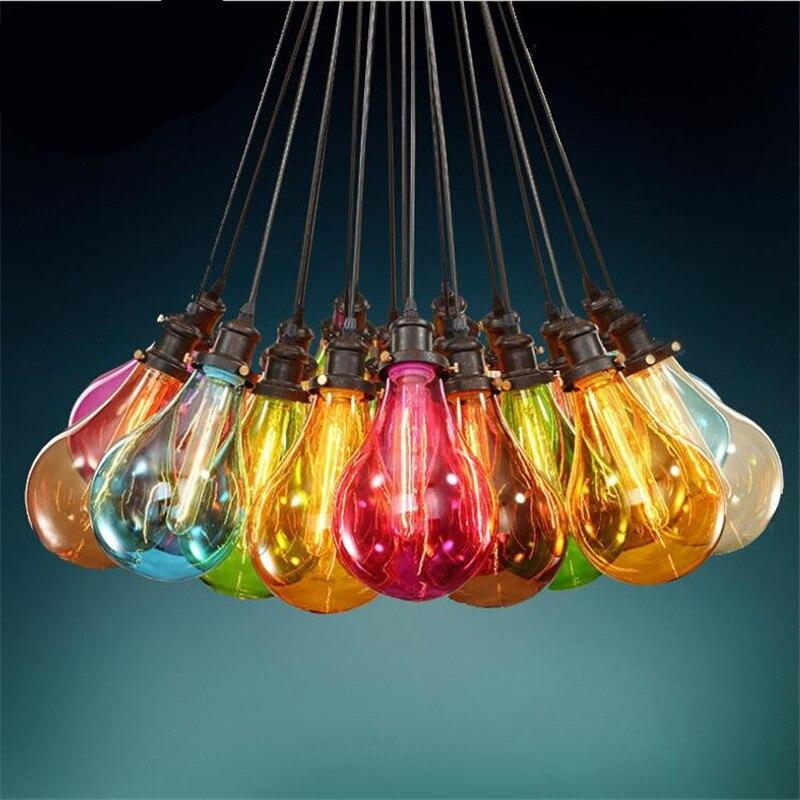 Vintage Handmade Multicolors Loft Creative Led E27 Glass Pendant Light For Dining Room Restaurant Living Room AC 80-265V 1399 стоимость