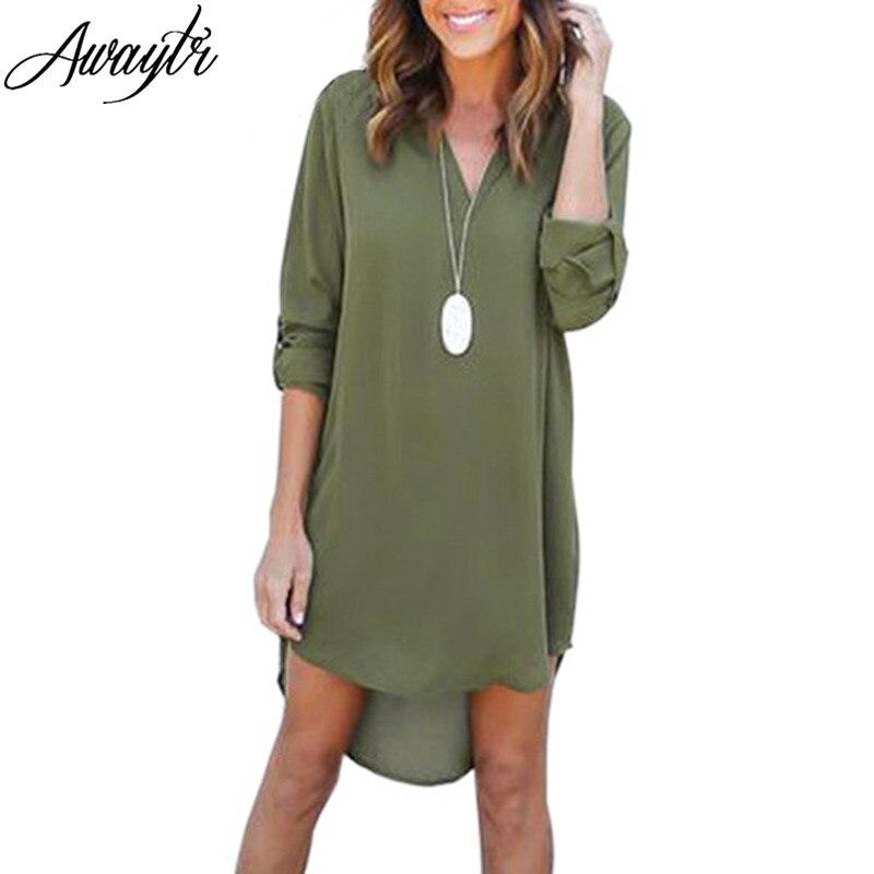 8067675d409 Awaytr плюс Размеры 3XL Для женщин глубоким вырезом шифоновое платье с  длинным рукавом Повседневное Туника Платье