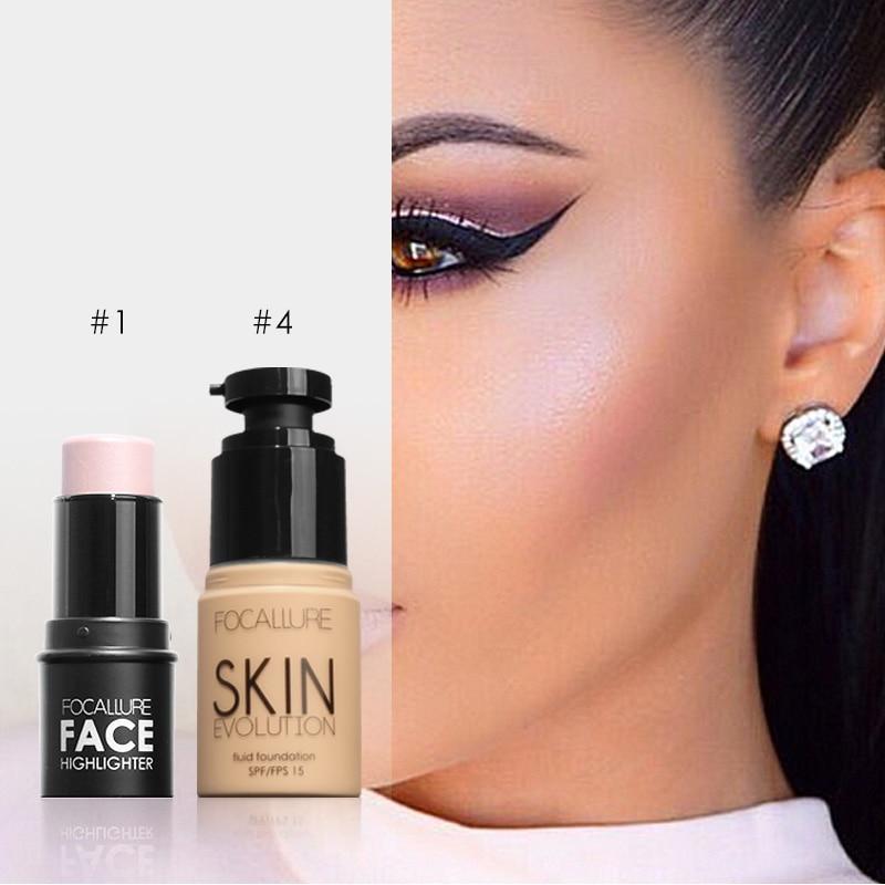 Focallure face Makeup Set Face Foundation base make up & Bling Highlighter stick  Water-proof Silver Shimmer Light cosmetic set