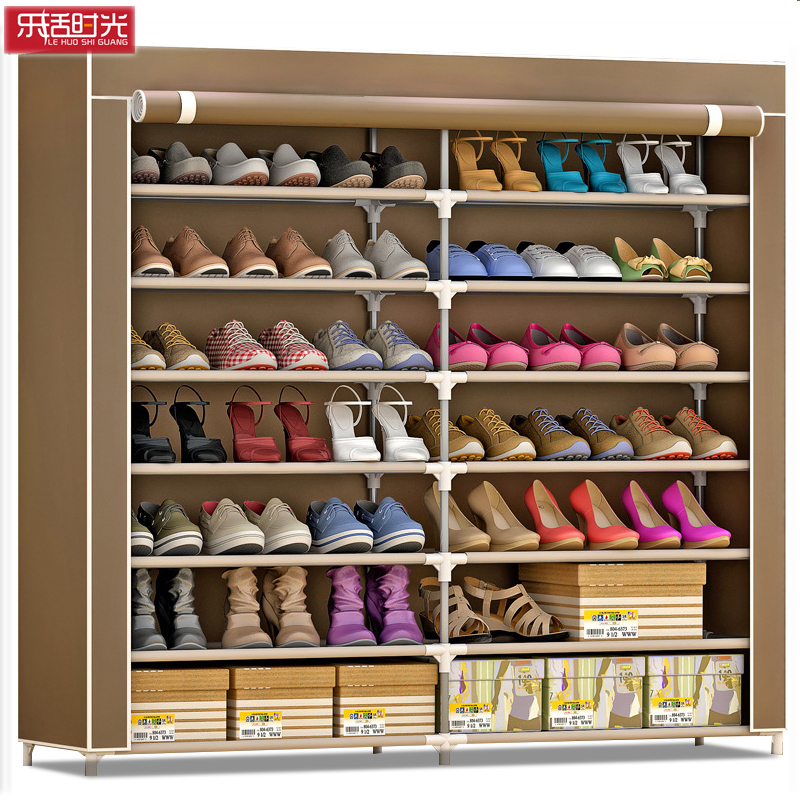 Nonwoven Cloth Modern Shoe Cabinet Double Rows 7-Layer Assembled Shoes Storage Rack Larger Capacity Space Saving Shoes Organizer