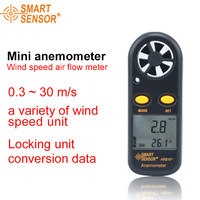 Smart Sensor AR816 High Quality Pocket Wind Speed Gauge Electronic Anemometer Thermometer Speed Measuring Instrument