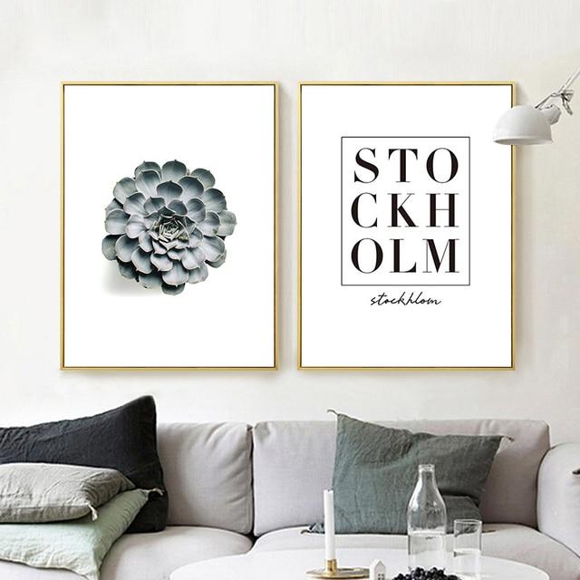 US $8.55 35% OFF|HAOCHU Modernen Minimalistischen Sukkulente Wandbild  Dekoration Kunst Poster Schlafzimmer Hotel Wandmalereien Stillleben  Kunstwerk in ...