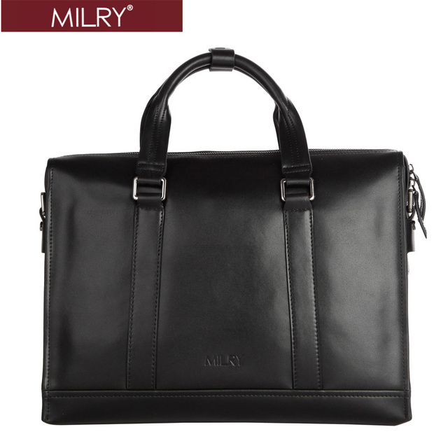 Free Shipping custom logo MILRY High Class 100% Genuine Leather men Briefcase business laptop bag Black CP0017-1