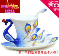 Peacock Coffee Cup Ceramic Creative Bone China 3D Color Valentine's Day Wedding bestie friends birthday creative gift cup