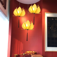 2016 Classic Led Pendant Lamp China Metal+Fabric, Vintage lotus flower Pendant Lights for Dining Room Modern Lighting Fixtures