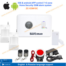 Free shipping home alarm  kit with IOS & android APP control security GSM alarm system 7 wireless zone + 3 wired zone