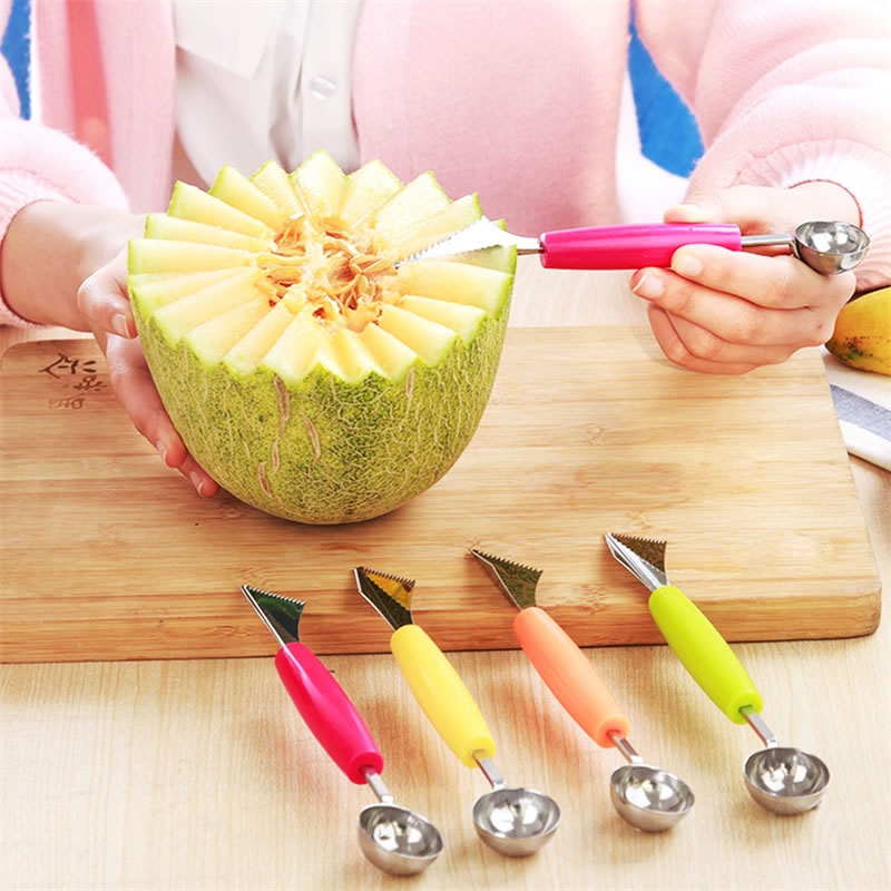 QueenTime 2 In 1 Melon Scoop Ballers Vegetable Carving Tools Ice Cream Scoops Fruits Ball Spoons Stem Remover Kitchen Gadgets in Melon Scoops Ballers from Home Garden