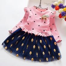 Kids Girl Dress Long Sleeve Floral Bow Clothing