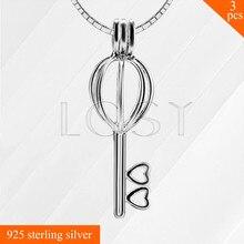 Nueva Moda de Ley 925 Joyas de Plata Agradable Clave Collar de Medallón Colgante para Las Niñas